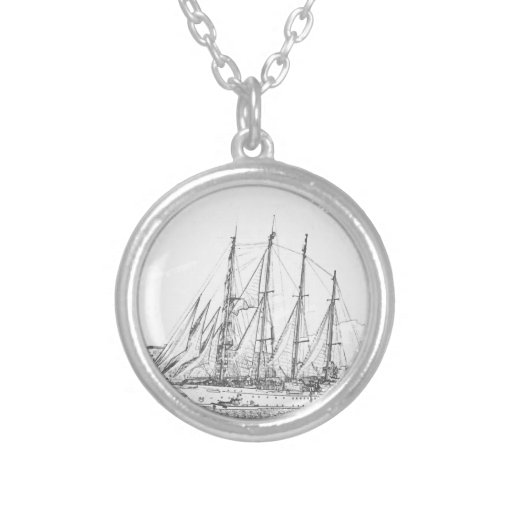 Ship under sail drawing custom jewelry