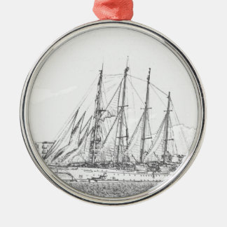 Ship under sail drawing Silver-Colored round decoration