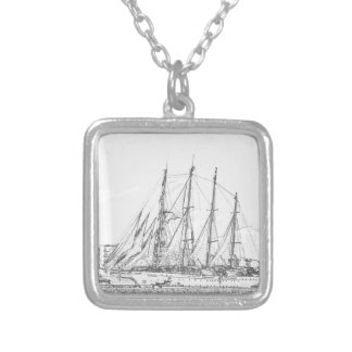 Ship under sail drawing silver plated necklace