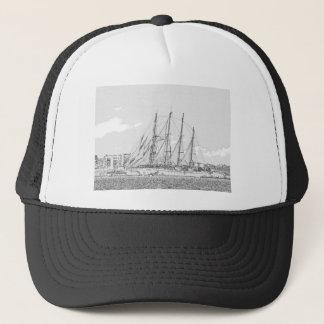 Ship under sail drawing trucker hat