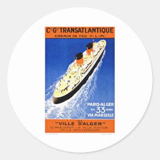 Ship Ville D'Alger Paris Vintage Travel Round Sticker