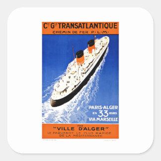 Ship Ville D'Alger Paris Vintage Travel Square Sticker