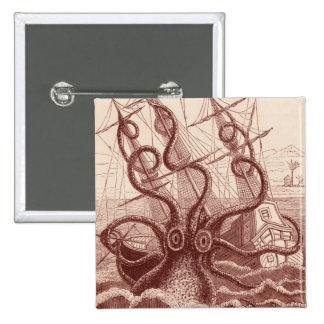 ship vs. octopus 15 cm square badge