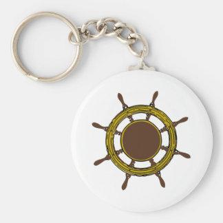 Ship Wheel Basic Round Button Key Ring