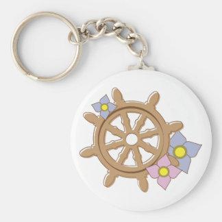 Ship Wheel Flowers Key Chain