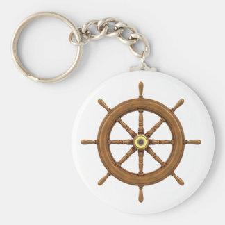 ship wheel inspired design basic round button key ring