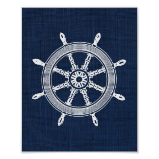 Ship Wheel Nautical Print