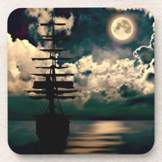Ship with full moon cork reductor coasters