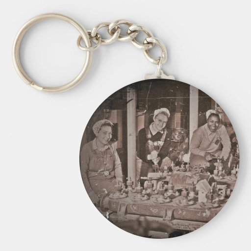 Shipfitters Working on Sub WWII. Keychain