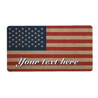 Shipiping labels with american USA flag