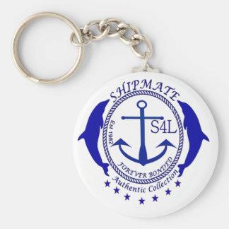 shipmate authentic logo blue basic round button key ring