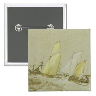 Shipping, c.1828-30 (pen, brush & brown ink, bodyc 15 cm square badge