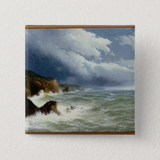 Shipping in Open Seas, 1882 (oil on canvas) 15 Cm Square Badge