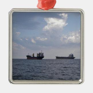 Shipping In The Black Sea Silver-Colored Square Decoration