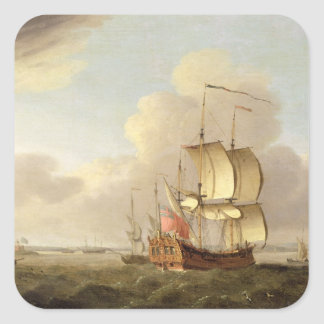 Shipping in the Thames Estuary, c.1761-66 (oil on Square Sticker