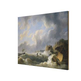 Shipping off a Coastline in a Rough Sea (oil on ca Canvas Print