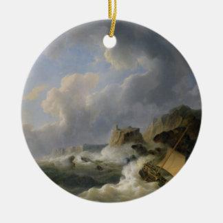 Shipping off a Coastline in a Rough Sea (oil on ca Round Ceramic Decoration
