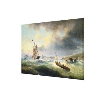 Shipping off the Spanish Coast, 1845 Canvas Print