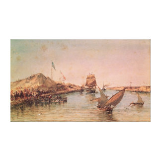 Shipping on the Suez Canal Canvas Print