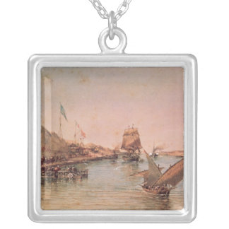 Shipping on the Suez Canal Silver Plated Necklace