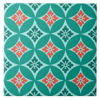 Shippo with Flower Motif, Turquoise and Coral Large Square Tile