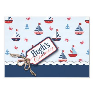 Ships Ahoy! Baptism Card Hugh 13 Cm X 18 Cm Invitation Card