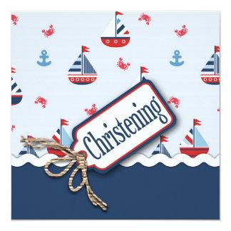 Ships Ahoy! Baptism Square 2 13 Cm X 13 Cm Square Invitation Card