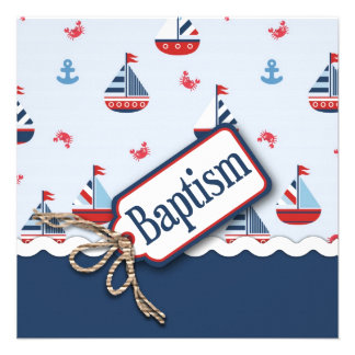 Ships Ahoy! Baptism Square 2 Custom Invitation
