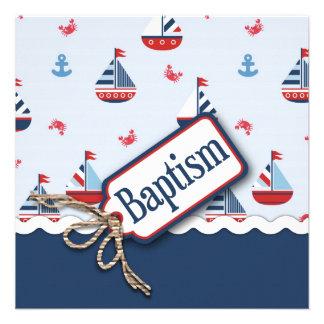 Ships Ahoy Baptism Square 2 Custom Invitation