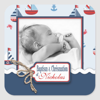 Ships Ahoy! Baptism Square Sticker