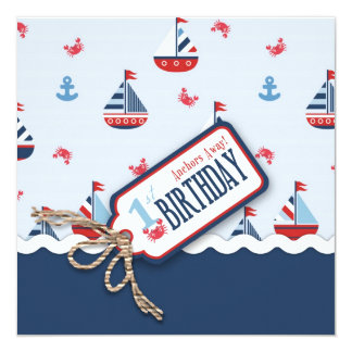 Ships Ahoy Birthday Invite Square 1