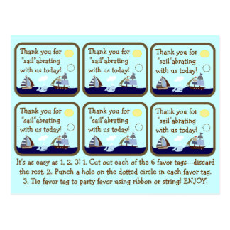 Ships Ahoy Mate Baby Shower Favor Tags Postcard