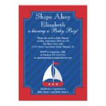 Ships Ahoy Nautical Sailboat Boy Baby Shower 13 Cm X 18 Cm Invitation Card
