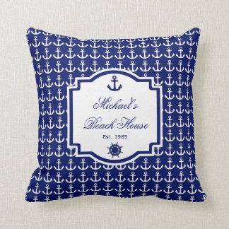 Ship's Anchor Navy Blue Nautical Pillow Throw Cushions