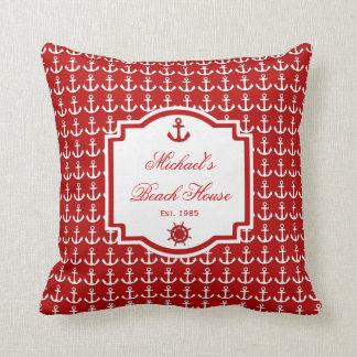 Ship's Anchor Red Nautical Pillow