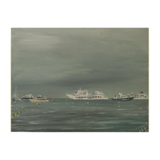 Ships and boats at Cannes 2014 Wood Print