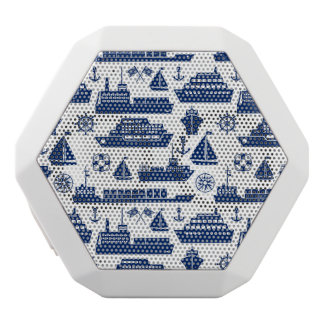Ships And Boats At Sea Pattern White Bluetooth Speaker