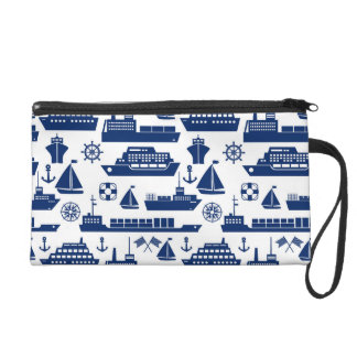 Ships And Boats At Sea Pattern Wristlet Purse