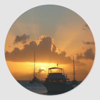Ships and Sunset Tropical Seascape Round Sticker