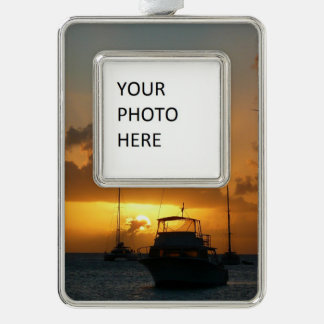 Ships and Sunset Tropical Seascape Silver Plated Framed Ornament