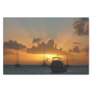 Ships and Sunset Tropical Seascape Tissue Paper