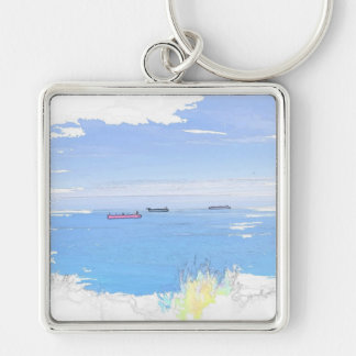 Ships At Sea Premium Large Square Keychain