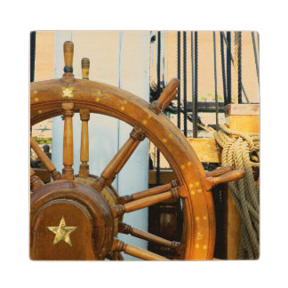 Ship'S Helm   Boston, Ma Wood Coaster