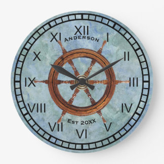 Ship's Helm Nautical Wall Clock Blue
