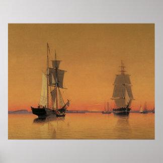 Ships in Boston Harbor at Twilight 1859 Poster