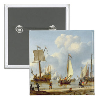 Ships in Calm Water with Figures by the Shore 15 Cm Square Badge