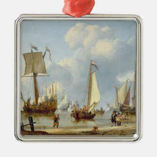 Ships in Calm Water with Figures by the Shore Silver-Colored Square Decoration