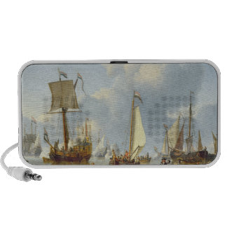 Ships in Calm Water with Figures by the Shore Mp3 Speaker
