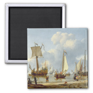 Ships in Calm Water with Figures by the Shore Square Magnet