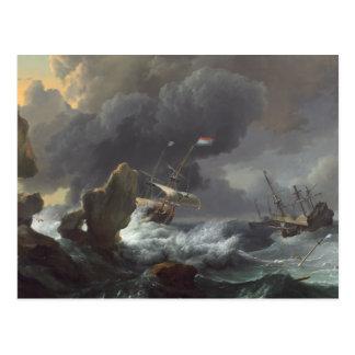 Ships in Distress off a Rocky Coast Postcard